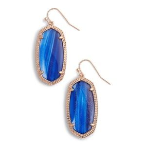 Kendra Scott Elle earrings Rose Gold blue dust